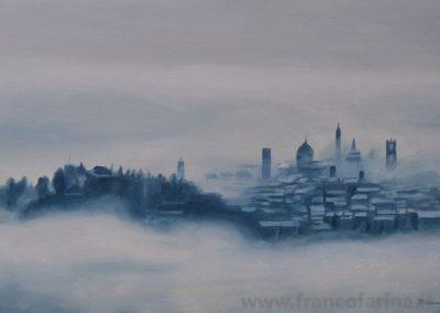 Bergamo tra nebbia e neve