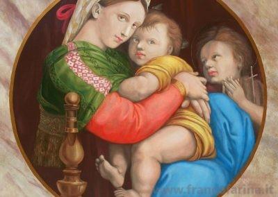 """""""Madonna della sedia"""" riproduzione ad olio su tavola del dipinto originale."""