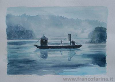 Traghetto di Imbersago sul fiume Adda (Acquarello)